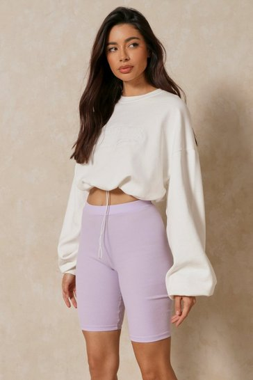 Lilac Rib Knit Cycling Shorts