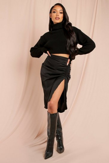 Black Ruched Side Split Leg Midi Skirt