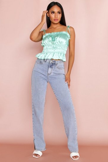 Green Satin Tie Shoulder Ruched Cami Top