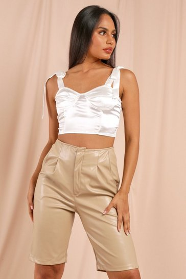 Cream Tie Shoulder Bustier Top