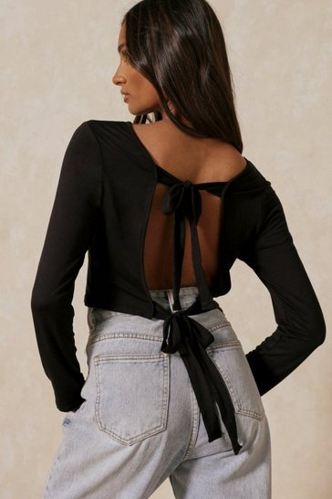 Black Open Back Tie Top