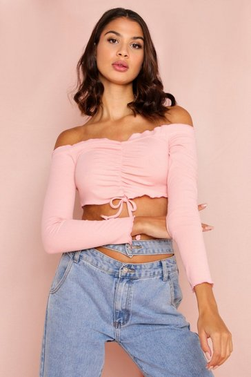 Peach Ribbed Ruched Front Bardot Crop Top