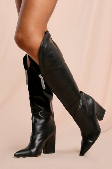 Black Diamante Detail Knee High Cowboy Boots