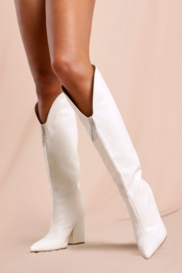 White Diamante Detail Knee High Cowboy Boots