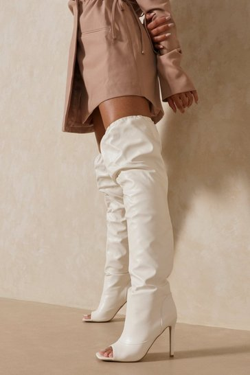 White Leather Look Over The Knee Heeled Boot