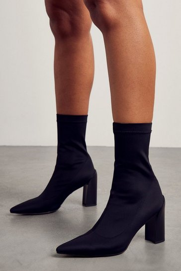 Black Faux Suede Block Heel Ankle Boot