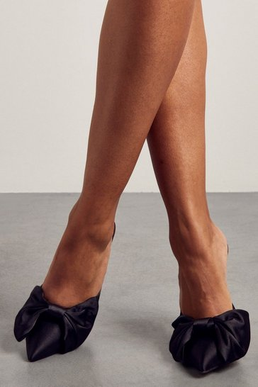 Black Satin Bow Detail Heeled Mules