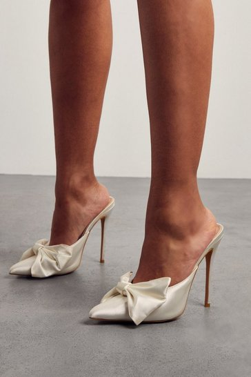 Ivory Satin Bow Detail Heeled Mules