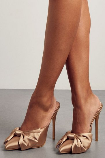 Stone Satin Bow Detail Heeled Mules