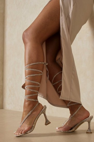 Brown Snake Print Lace Up Square Toe Heels