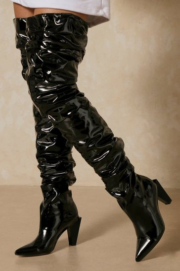 Black Patent Thigh High Heeled Boot