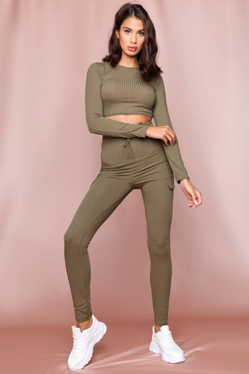 Khaki Ribbed Tie Waist Legging Co-Ord