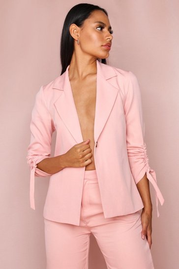 Blush Longline Relaxed Ruched Sleeve Blazer
