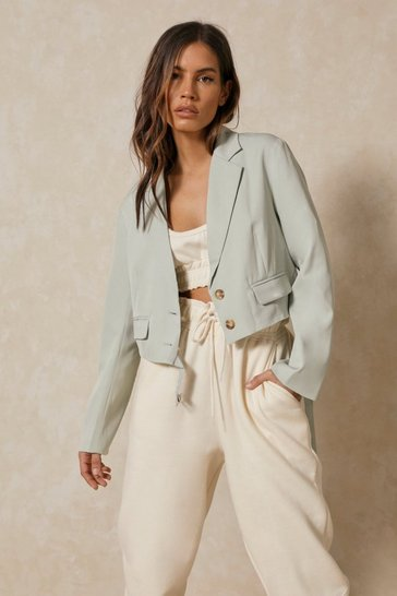 Khaki Button Front Cropped Blazer