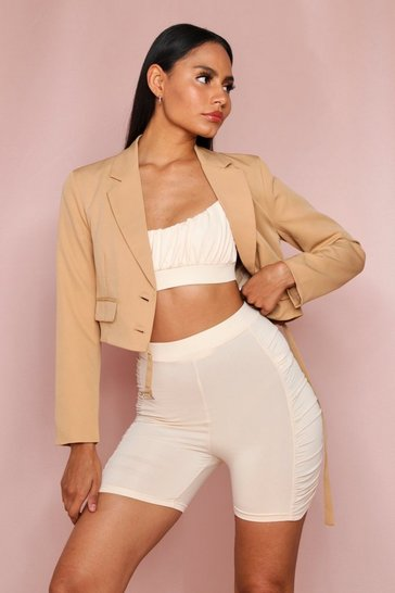 Tan Button Front Cropped Blazer