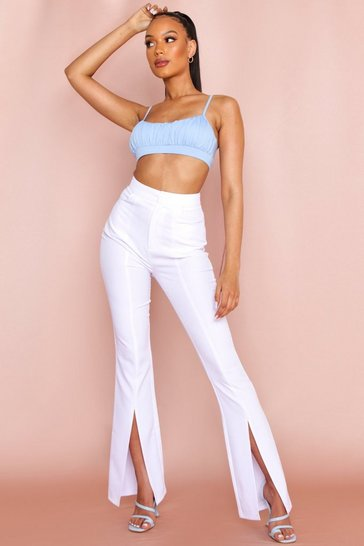 White Split Front Flared Leg Trouser