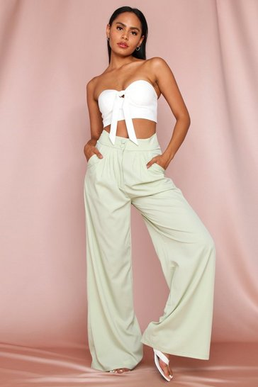 Sage Button Front Detail Wide Leg Trouser