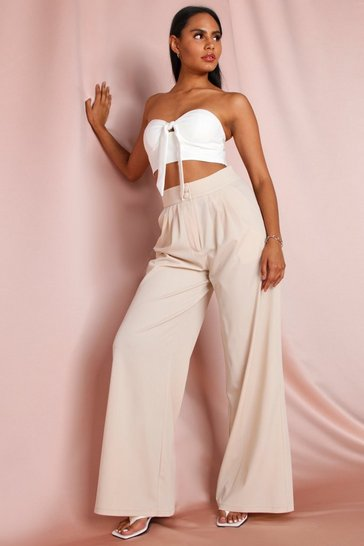 Stone Button Front Detail Wide Leg Trouser