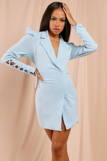Pale blue Puff Shoulder Detail Blazer Dress