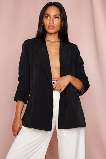 Black Oversized Double Breasted Button Detail Blazer