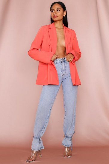 Coral Oversized Double Breasted Button Detail Blazer