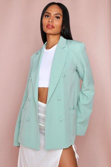 Sage Oversized Double Breasted Button Detail Blazer