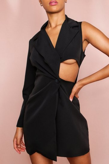 Black Cold Shoulder Cut Out Detail Blazer Dress