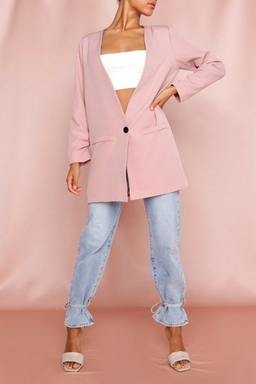 Blush Deep V Front Single Button Blazer