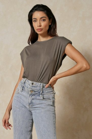 Khaki Shoulder Pad T-Shirt