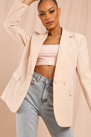 Nude Double Breasted Oversized Blazer