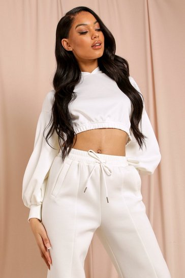 Cream Balloon Sleeve Oversized Crop Hoody