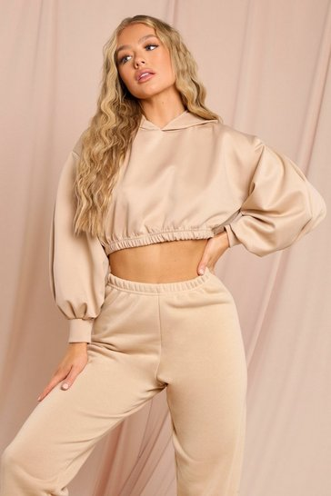 Stone Balloon Sleeve Oversized Crop Hoody