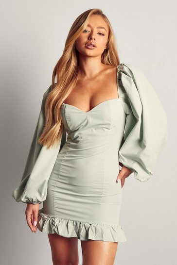 Mint Puff Sleeve Frill Hem Mini Dress