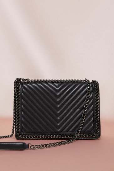 Black Quilted Chain Detail Bag