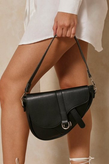 Black Leather Look Saddle Bag