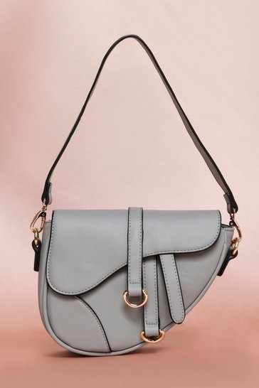 Grey Leather Look Saddle Bag