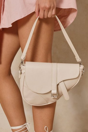 Nude Leather Look Saddle Bag