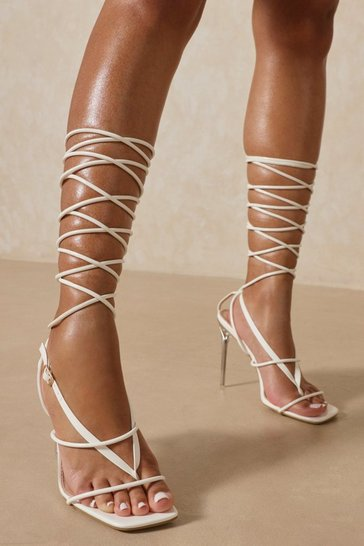 White Leather Look Strappy Lace Up Heels