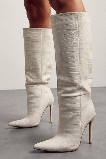 White Leather Look Croc Print Pointed Heeled Boot