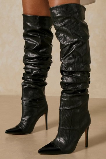 Black Leather Look Pointed Ruched Knee Length Heeled Boot
