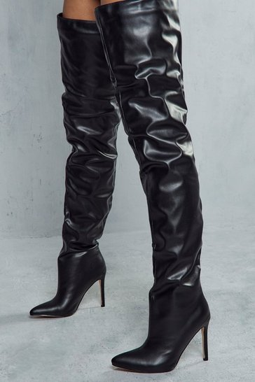Black Thigh High Pointed Heeled Boots