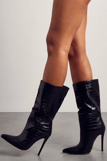 Black Croc Print Calf Length Pointed Heeled Boot