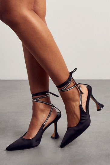 Black Satin Diamante Tie Up High Heels