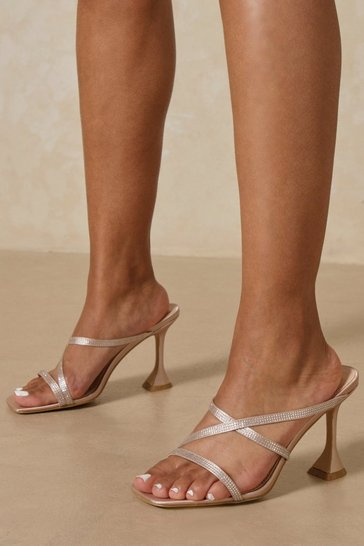 Nude Diamante Strappy Cake Stand Heel Mules