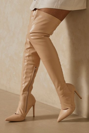 Nude Cut Out Detail Thigh High Heeled Boot