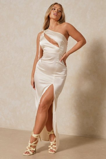 Oyster Satin Tie Shoulder Cut Out Maxi Dress