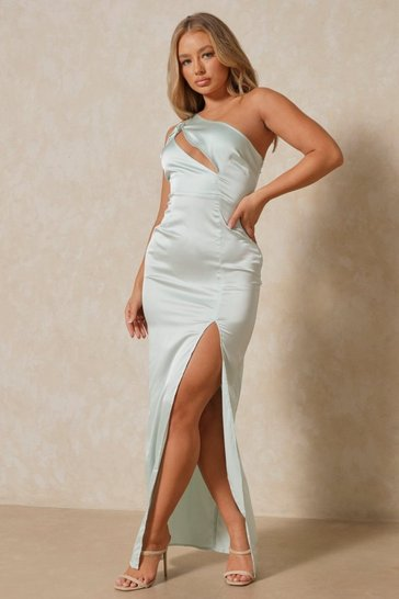 Sage Satin Tie Shoulder Cut Out Maxi Dress