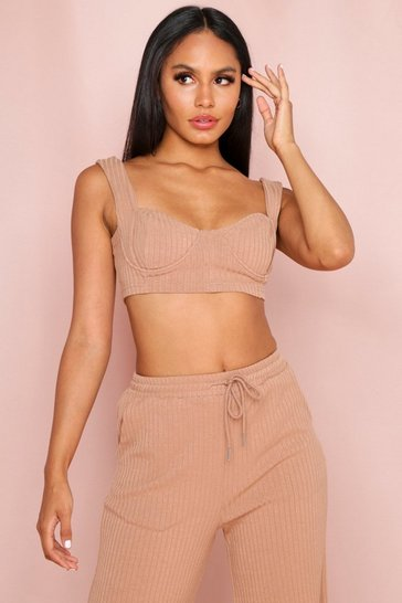 Stone Ribbed Cupped Bralet
