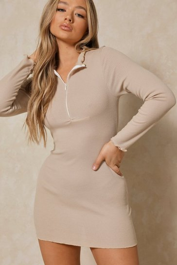 Stone Lettuce Hem Zip Front Ribbed Bodycon Dress