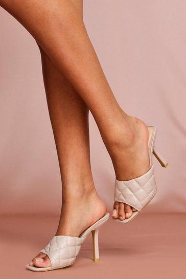 Nude High Heel Quilted Mules